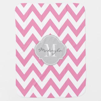 Bubblegum Pink and White Chevron with Monogram Receiving Blanket