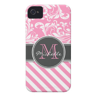 Bubblegum Pink and White Damask with stripes iPhone 4 Cover