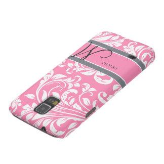 Bubblegum Pink and white floral damask w monogram Samsung Galaxy Nexus Cases