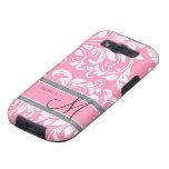 Bubblegum Pink and white floral damask w/ monogram Samsung Galaxy S3 Case
