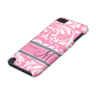 Bubblegum Pink and white floral damask w monogram iPod Touch 5G Covers