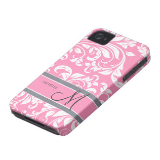Bubblegum Pink and white floral damask w/ monogram iPhone 4 Case