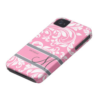 Bubblegum Pink and white floral damask w/ monogram iPhone 4 Cover