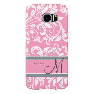 Bubblegum Pink and white floral damask w/ monogram Samsung Galaxy S6 Case