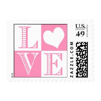 Bubblegum Pink and White LOVE Wedding Stamp