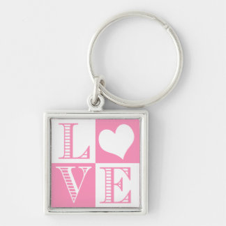 Bubblegum Pink and White Love with heart Keychain