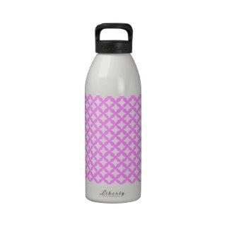 Bubblegum Pink And White Mesh Pattern Graphic Art Drinking Bottle