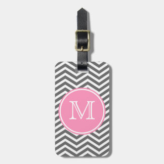 Bubblegum Pink and White Monogram with Chevron Luggage Tag