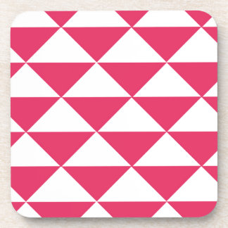 Bubblegum Pink and White Triangles Beverage Coaster