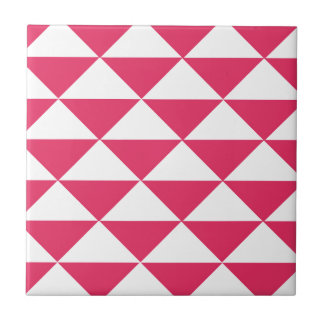Bubblegum Pink and White Triangles Small Square Tile