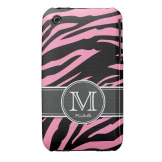 Bubblegum Pink & Black Zebra stripes iPhone 3 Case
