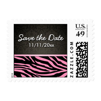 Bubblegum Pink & Black Zebra Stripes Save the Date Postage Stamp
