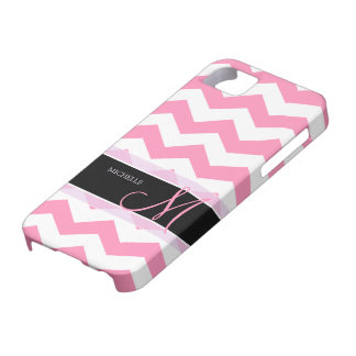 Bubblegum Pink Chevron with Personalized Monogram iPhone SE/5/5s Case