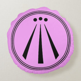 Bubblegum Pink Classic Line Drawn Awen Symbol Round Pillow