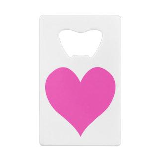 Bubblegum Pink Cute Heart Shape Credit Card Bottle Opener