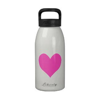 Bubblegum Pink Cute Heart Shape Reusable Water Bottles