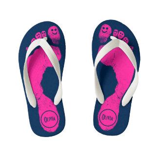 Bubblegum Pink Footprints Smiley-Toes™ Navy Blue Kid's Flip Flops