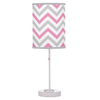 Bubblegum Pink, Gray and White Chevron Pattern Table Lamp