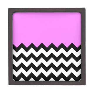Bubblegum-Pink-On-Black-&-White-Zigzag-Pattern Premium Trinket Boxes