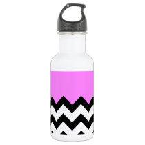 Bubblegum-Pink-On-Black-&-White-Zigzag-Pattern Water Bottle