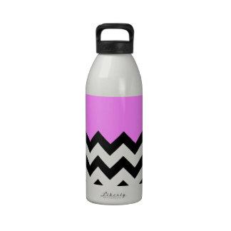Bubblegum-Pink-On-Black-&-White-Zigzag-Pattern Drinking Bottles