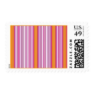 Bubblegum Pink  Orange Stripes Stamp