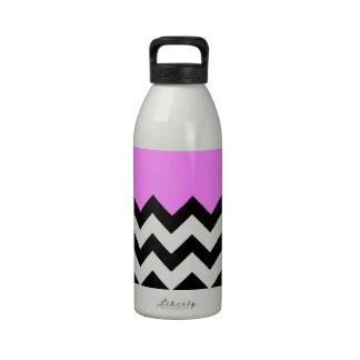 Bubblegum Pink Pattern On Large Zigzag Chevron Drinking Bottles