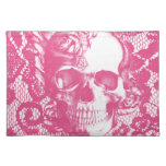 Bubblegum Pink rose skull on lace Cloth Placemat