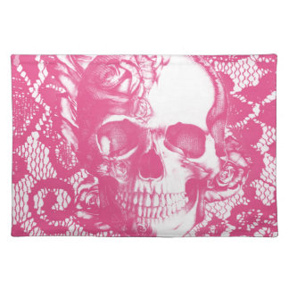 Bubblegum Pink rose skull on lace Placemat