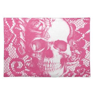 Bubblegum Pink rose skull on lace Place Mat