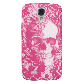 Bubblegum Pink rose skull on lace Samsung S4 Case