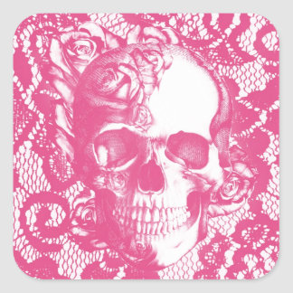 Bubblegum Pink rose skull on lace Square Sticker