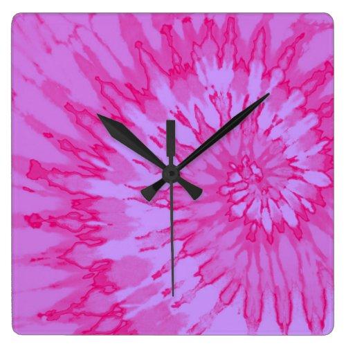 Bubblegum Pink Spiral Tie Dye Clock
