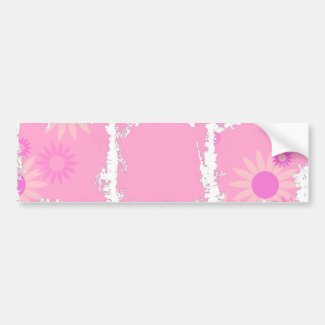 Bubblegum Pink Spring Flowers Bumper Sticker
