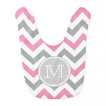 Bubblegum Pink, White and Gray Chevron Pattern Baby Bib