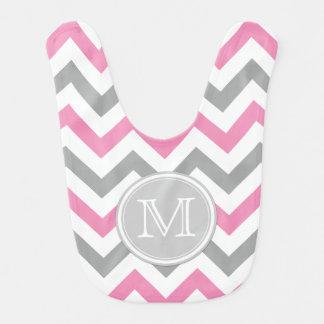 Bubblegum Pink, White and Gray Chevron Pattern Baby Bib