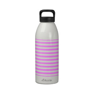 Bubblegum Pink White Horizontal Stripes Pattern Reusable Water Bottle