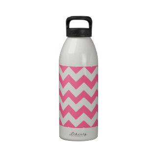 Bubblegum Pink White Zig Zag Pattern Water Bottles
