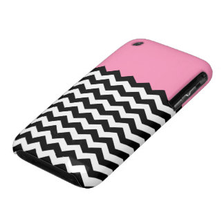 Bubblegum Pink with Black and White Chevron iPhone 3 Case-Mate Case