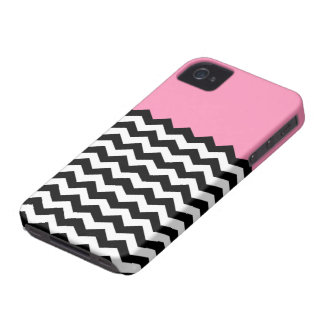 Bubblegum Pink with Black and White Chevron iPhone 4 Case