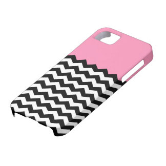 Bubblegum Pink with Black and White Chevron iPhone SE/5/5s Case