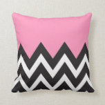 Bubblegum Pink with black and white Chevron Throw Pillows