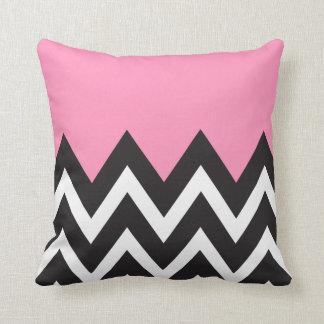 Bubblegum Pink with black and white Chevron Throw Pillow
