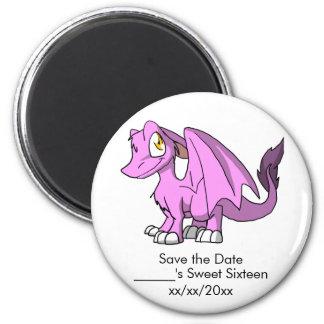 Bubblegum/reserva peluda rosada del dragón del SD Imán Redondo 5 Cm