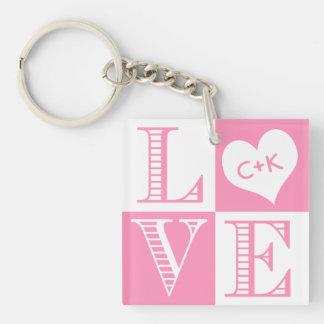 Bubblegum rosado y amor blanco - personalizado llavero cuadrado acrílico a una cara