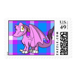 Bubblegum SD Furry Dragon w/ Tartan Back 1 Postage Stamps