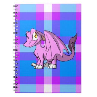 Bubblegum SD Furry Dragon w/ Tartan Back 1 Spiral Notebook