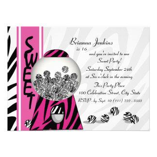 Bubblegum Stripes Pink Custom Invitation