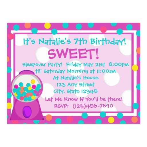 Bubblegum Treat Invitation Postcard