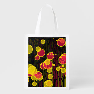 Bubbles and lines reusable grocery bag